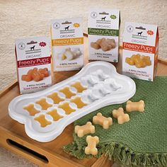 Frozen Organic puppy treats. I bought the kong shaped ones that fit inside the kong toy and my dog loves them!