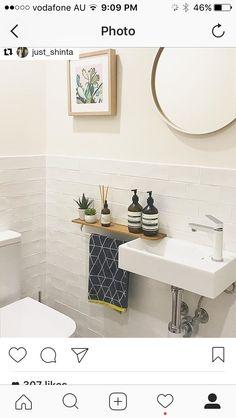 Kleine badezimmer design towel holder ideas for WC - # ideas - Vacuum Small Downstairs Toilet, Small Toilet Room, Guest Toilet, Downstairs Bathroom, Small Toilet Decor, Bathroom Mirror With Shelf, Sink Shelf, Small Bathroom Sinks, Bad Inspiration