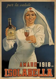 Strangely, a Red Cross nurse is used to hawk liquor in this Amaro ad, ca. 1940s.