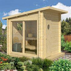 Bilderesultat for badstue byggesett Diy Sauna, Sauna Ideas, Micro House Plans, Modern House Plans, Garden Huts, Sauna House, Sauna Design, Outdoor Sauna, Bike Shed