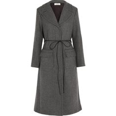 Nina Ricci Belted wool-blend twill coat ($855) ❤ liked on Polyvore featuring outerwear, coats, grey, wool-blend coat, grey coat, nina ricci coat, belted coat and slim fit coat