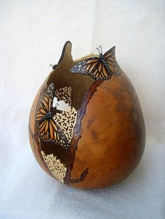 monarch gourd filigree carved butterfly gourd vase vessel gourd art. This is beautiful!  Who is the artist?  Claim your gourd!