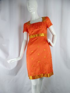 90s Anna Sui orange and gold sari silk fitted wiggle dress/ Bollywood chic/ Kate Moss runway: size US 2- fits 4