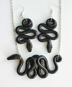 Black Milk Snake Earrings and Necklace Set Polymer Clay, Snake Earrings, Snake Necklace, Polymer Clay Animals