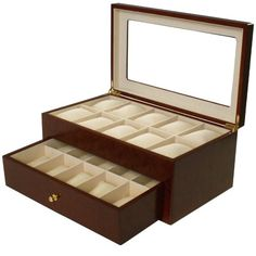 Watch Box for 20 Watches Burlwood Matte Finish XL Extra Large Compartments Soft Cushions Clearance Window  $69.95