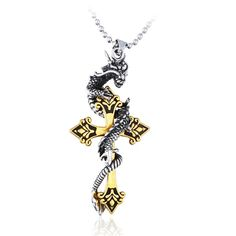 3D night wolf print Cross Necklace For Men And Women 24 Inches Black Zinc Alloy