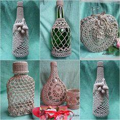 Artesanato e Reciclagem Lado a Lado garrafas revestidas em crochet