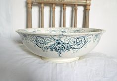 French Vintage salad bowl  blue and white ironstone scroll floral frieze Staffordshire flow blue delph blue blue willow l