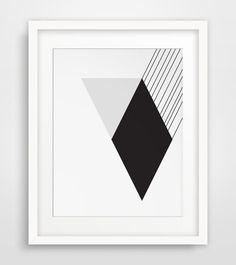 Modernist Black and White Wall Art Diamond by MelindaWoodDesigns #modernart #moderndecor #blackandwhite