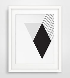 Modernist Black and White Wall Art, Diamond Geometric Print, Triangle Art, Black and White Minimalist Digital Printable Download