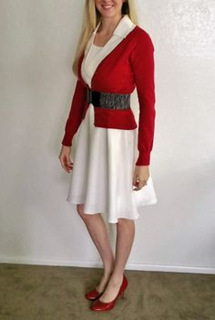Christmas or Winter Holiday Outfit. Mrs. Claus party dress. Forgot to throw on some acessories before we took this picture...oops