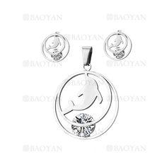 juego colgante y aretes de delfin con cristal en acero plateado inoxidable -SSSTG1074256