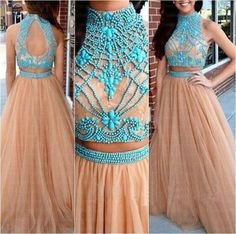 A line prom dress, Long Prom Dresses, tulle prom dress, 2 pieces prom dress, tulle prom dresses, prom dress online, 2017 prom dress
