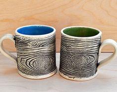 Faux Bois Mug- Wood-grain Mug- Hand-built Cup- Made to Order