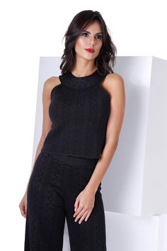 Cropped Tricot Black