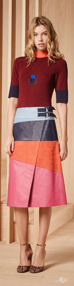 Pre-Fall 2016 Tory Burch Date: June 16, 2016 Notation:  This what appears to be leather skirt is fun and exciting because of the asymmetrical pattern.