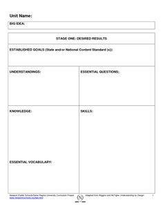 Backward Planning Template Backward Design Lesson Plan Template Doc Lessons Pinterest