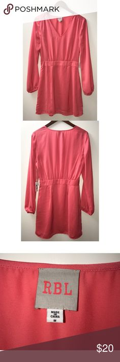 RBL Hot Pink Long Sleeved Dress NWT RBL Hot Pink Long Sleeved Dress.  Sized medium.  Bought off posh but unfortunately didn't work for me.  This medium fits tight in the chest so if you've got 36D or larger it may not work for you.  Such a cute dress though. RBL Dresses Mini