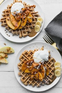 Healthier Waffles with Apple Cinnamon Topping