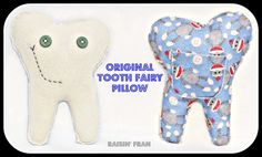 Handmade Felt Tooth Pillows by RaisinFran on Etsy - Repin for later!  Toothfairy, Toothache, Tooth Fairy ideas, Tooth Fairy, Toothless, Dental, Dentist, Fun, Adventure, Sweet Dreams
