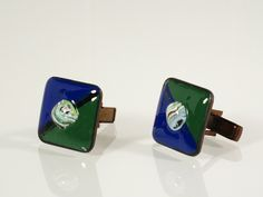 Vintage Copper and Enamel Cuff Links - Harvey Avedon Enameled Copper Cufflinks - Copper Cuff Links - Geometric Abstract Enamel Copper at Eight Mile Vintage on Etsy