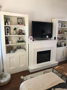 Built In Cabinet Around Fireplace Inspirational Custom Faux Tiled Fireplace and Mantle with Bookshelves Custom Fireplace, Farmhouse Fireplace Mantels, Farmhouse Fireplace Decor, Fireplace, Fireplace Tile, Wall Units With Fireplace, Built In Cabinets