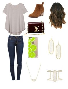 """Rocking it"" by heyitsizzy22 on Polyvore featuring Olive + Oak, Frame Denim, Louis Vuitton, Casetify and Kendra Scott"