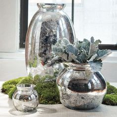 DIY- Mercury glass vases made out of old glass containers. This make mis-matched items look like a set- and it'd be great for table centerpieces at a wedding! by allie Glass Planter, Glass Vase, Glass Lamps, Glass Etching, West Elm, Do It Yourself Wedding, Decoration Originale, Bottles And Jars, Perfume Bottles