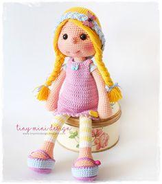 Amigurumi Örgülü Saçlı Bebek-Amigıurumi Tressed-Haired Doll Crochet Toys Patterns, Amigurumi Patterns, Stuffed Toys Patterns, Doll Patterns, Bunny Crochet, Crochet Baby, Knitted Dolls, Crochet Dolls, Knitted Animals