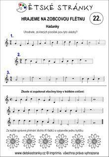 Škola hry na zobcovou flétnu - lekce 22. Sheet Music, Music Sheets