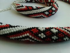 Geometric Ukrainian Podillya crochet jewelry ( bracelet and pattern rope necklace) gift for here stripes rhombus by KaznovskaOlhaDesign on Etsy