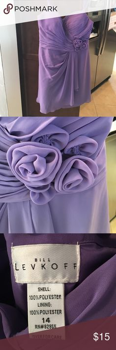 """Purple bill levkoff tea length dress Size 14 but I wear I size 10. The straps were taken up and the dress was hemmed. I'm 5'2"""" 155 lbs and a size 10 and if fit perfect. Wore once in a wedding. Really flattering sweetheart neckline. Smoke free dog friendly home Bill Levkoff Dresses"""