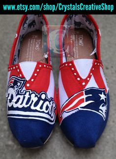 New England Patriots NFL Painted Toms on Etsy, $50.00