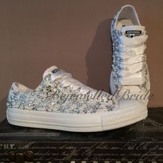 Wedding Converse all white  amp  Fully covered in Crystal + Pearl bcfdf12ff0