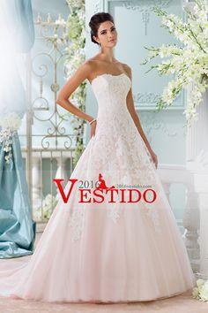 2016 vestidos de boda sin tirantes de una línea con apliques tribunal tren