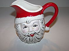 Old VTG Hand Made Pottery Winking Santa Creamer Pitcher