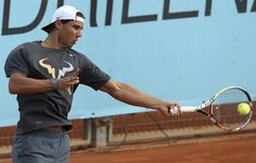 rafael nadal shows tummy while working andy murrays ball serve madrid open 2015