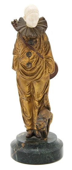 An Art Deco Bronze and Ivory Figure, George Omerth, depicting Pierrot and Cat…