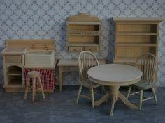 Dolls House miniature barewood Kitchen set. BU211.