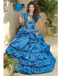 Quinceanera Dress #88022LB Silky taffeta with embroidery and beading. Matching bolero jacket. Tafeta sedosa con bordados y piedras. Incluye chaqueta bolero.
