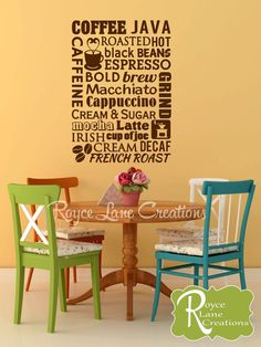 Coffee Word Art 2 Kitchen Decal  This decal is available in several sizes and in any of our colors. Please see the drop down menu for