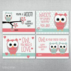 INSTANT DOWNLOAD Valentine Cards. Printable Owl Valentine's Cards. by BolandDesignPaperCo, $6.00