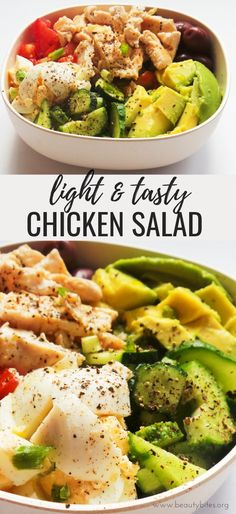 Make this avocado chicken salad for lunch or dinner! Healthy and easy, this low carb chicken recipe comes with a meal prep option and is paleo and gluten-free. Super Healthy Recipes, Healthy Salad Recipes, Clean Eating Recipes, Paleo Recipes, Healthy Eating, Dinner Healthy, Recipes Dinner, Healthy Fats, Drink Recipes
