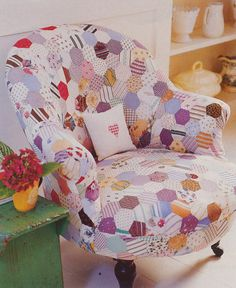 Butaca tapizada con patchwork