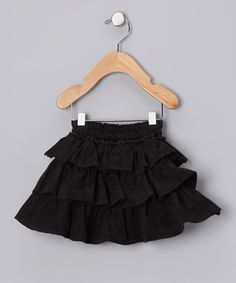 Take a look at this Black Corduroy Ruffle Skirt - Infant, Toddler & Girls by Sophie Catalou on #zulily today!