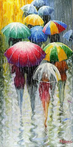 Romantic Umbrellas - Stanislav Sidorov  Cheery colors make this rainy day so fun!      …shared by Vivikene