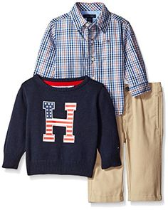 Tommy Hilfiger Baby Boys Gavin 3 Piece Sweater Shirt and Twill Pant Set Swim Navy 03 Months *** See this great product.Note:It is affiliate link to Amazon.