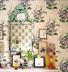Rita Konig via Domino, Cole and Son Wallpaper Madras Violet