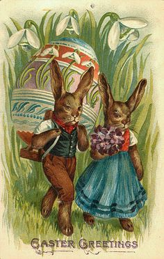 Vintage Easter postcard with dressed up rabbit couple with giant egg. anthropomorphic