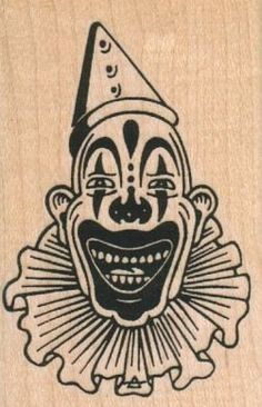New to on Etsy: Rubber stamp clown face scary wood Mounted 7253 carnival freaks craft stamping halloween USD) Scary Woods, Illustrations Posters, Sketch Book, Vintage Clown, Sketch Painting, Scary Drawings, Weird Art, Face Drawing, Clown Faces
